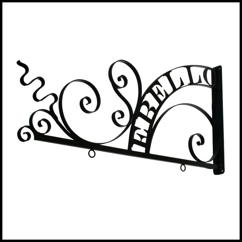 Adding your company name to iron sign brackets guarantees your business will be noticed from sidewalks as well as from the street.