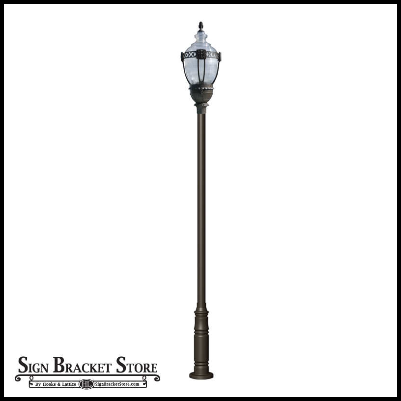 This Victorian vintage lamppost fixture boasts modern efficiency and the clear top means uplighting for hanging baskets and event banners.