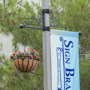 Two Way Banner and Hanging Basket Combo with Scroll Artwork